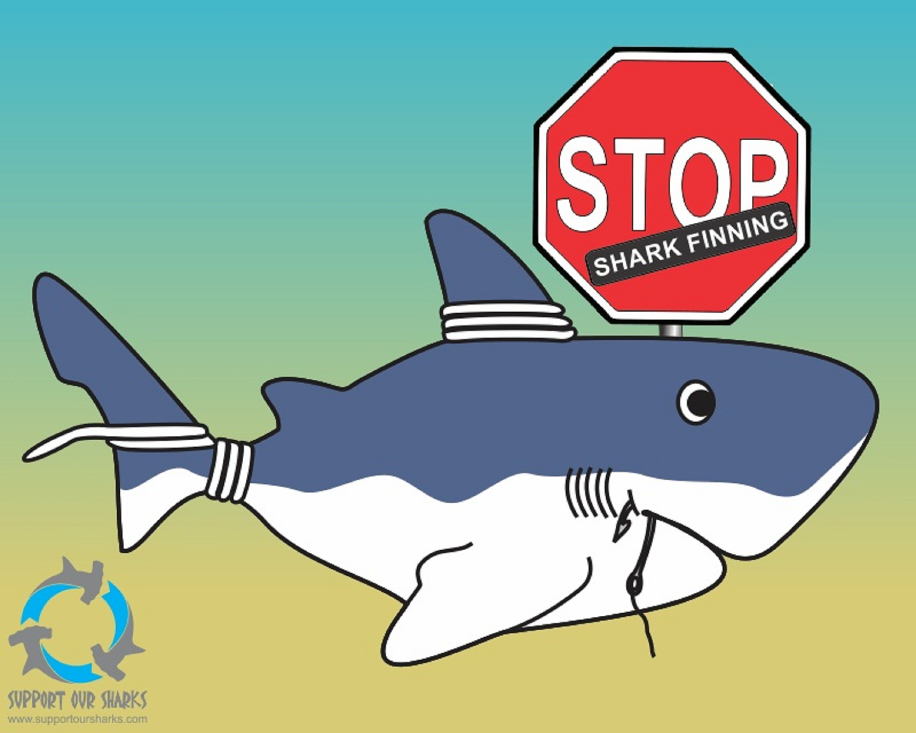 stop finning shark cartoons by support our sharks